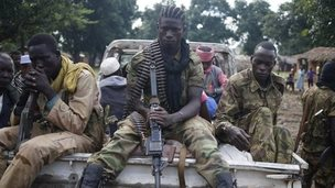 Seleka fighters on a pick-up truck in the town of Goya (June 2014)