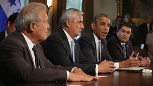 US President Barack Obama (second from right) appeared with President Otto Perez Molina (second from left) of Guatemala, President Juan Orlando Hernandez (right) of Honduras, and President Salvador Sanchez Ceren (left) of El Salvador at the White House in Washington on 25 July 2014