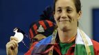 Michaela Breeze shows off her silver medal at the Commonwealth Games in Delhi