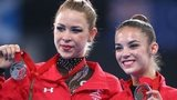 Rhythmic gymnasts Frankie Jones (right) and Laura Halford (bronze) with the silver and bronze medals they won