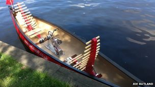 Pedal-powered canoe used to photograph Broadsview images