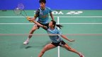Malaysia's Chan Peng Soon/Goh Liu Ying in mixed doubles badminton action