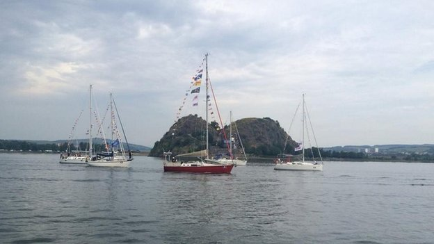 boats passing Dumbarton Rock