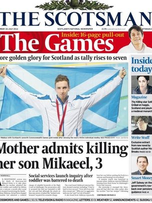 Scotsman front page July 26 2014