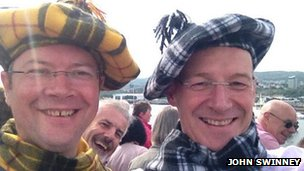 John Swinney (right) and Ross Craig enjoy Commonwealth flotilla