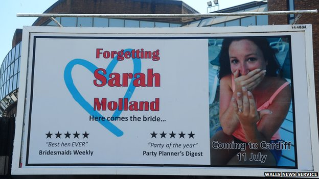 The billboard advertising Sarah Molland's hen party