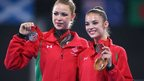 Frankie Jones and Laura Halford won silver and bronze in the individual all-around rhythmic gymnastics final.