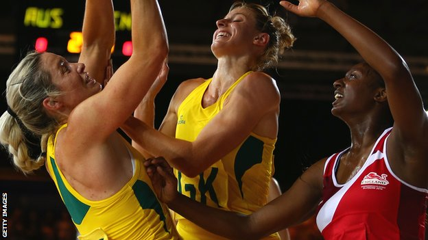 Australia against England in Pool B of the netball competition