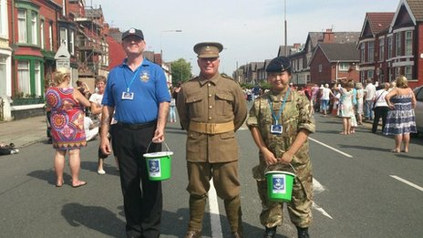 Tony, Butch and Felicity, collecting for the Liverpool Pals Memorial Fund