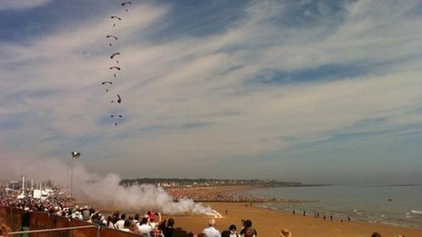 Parachute display at airshow