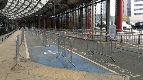 crash barriers at Lime Street