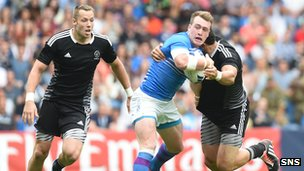 Stuart Hogg in action for Scotland Sevens against New Zealand