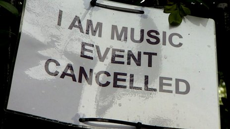 I Am Music Festival cancelled sign