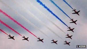 red arrows at East Fortune