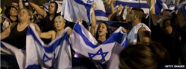 Israelis in Tel Aviv rally in support of the country's military operation in Gaza. Photo: 26 July 2014