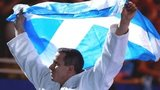 Scotland's Euan Burton after winning Commonwealth Games gold in the -100kg class