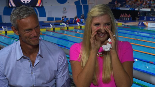 Rebecca Adlington's tears for Adam Peaty gold