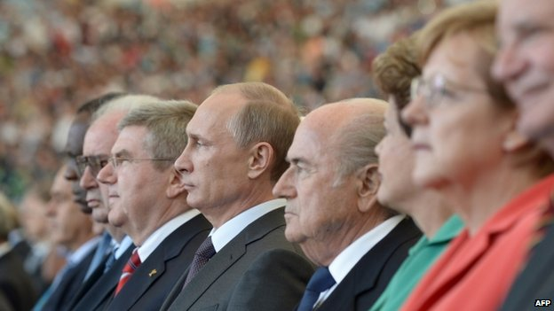 Vladimir Putin, Sepp Blatter and other senior figures at a match during the 2014 World Cup in Brazil