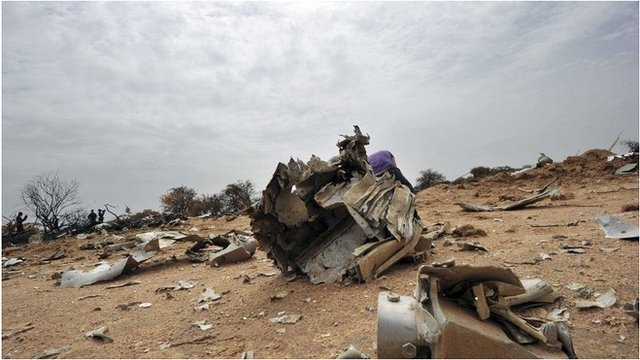 Wreckage at the site of the AH5017 crash