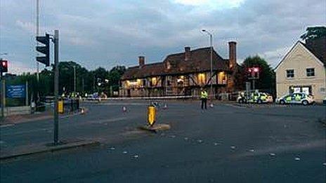 Crash scene at Larkfield