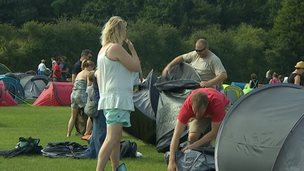 People taking home the tents