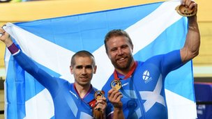 All smiles from Scotland duo Neil Fachie and Craig MacLean (right) after winning gold in the 1000m Time Trial B2 Tandem