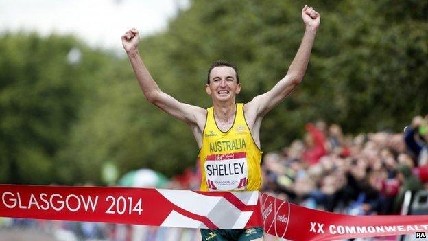 Mike Shelley winning the marathon
