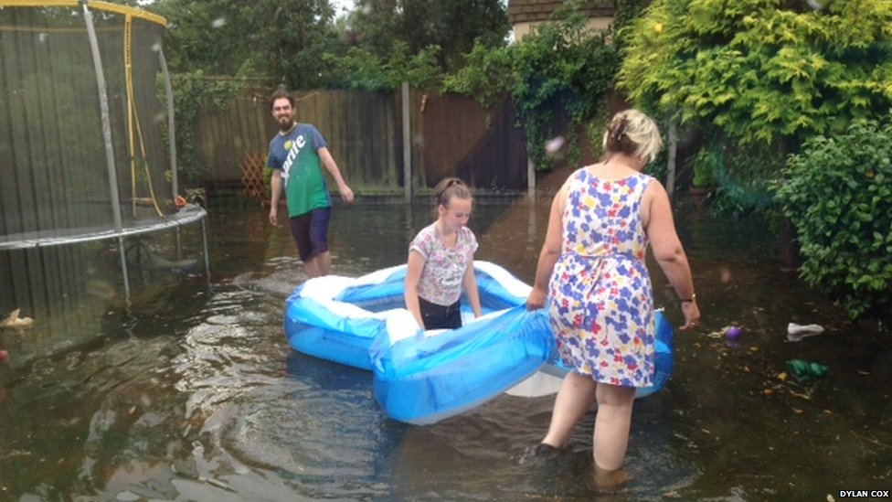 Flash floods at Canvey Island Essex.