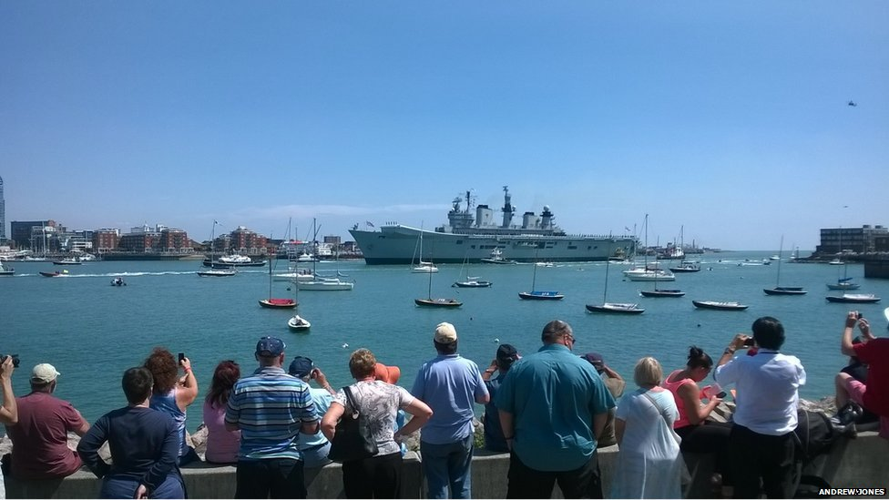 HMS Illustrious returns to Portsmouth Harbour for the final time.