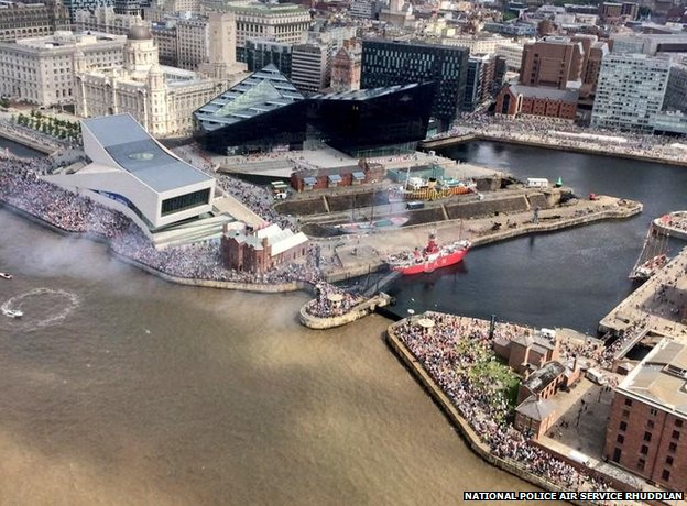 Aerial shot of crowds in Liverpool