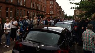 Crowds outside Hampden Stadium