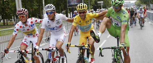 (l-r) Rafal Majka, Thibaut Pinot, Vincenzo Nibali and Peter Sagan