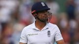 England captain Alastair Cook walks off
