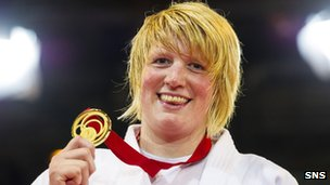 Judo star Sarah Adlington with her prized Commonwealth Games gold medal