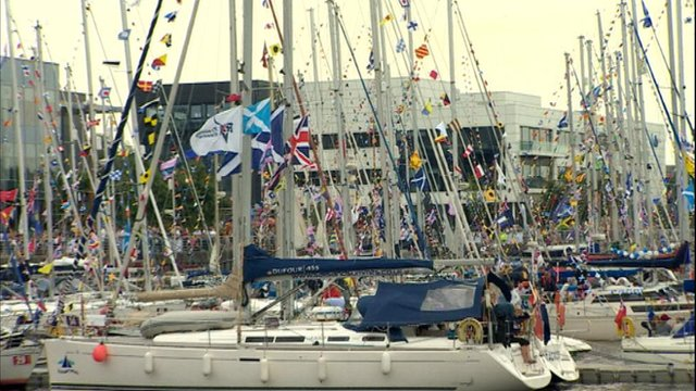 Part of the flotilla berths close to BBC Scotland's Pacific Quay headquarters