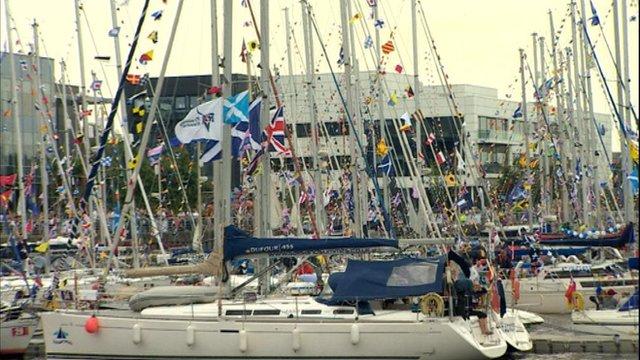 Part of the flotilla berths close to BBC Scotland's Pacific Quay headquarters