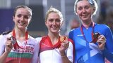 Wales' Elinor Barker, England's Laura Trott and Scotland's Katie Archibald celebrates their medals in the women's points race