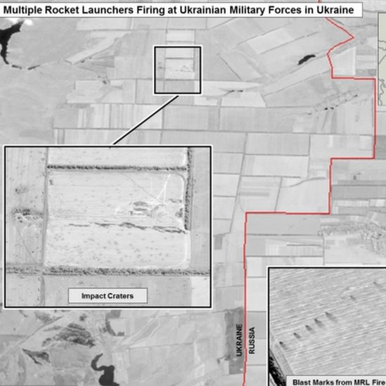 Images from US state department purporting to show evidence of Russian firing across the border into Ukraine, 26 July 2014
