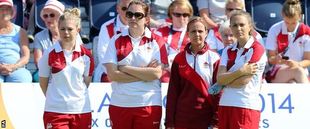 Sophie Tolchard (right) with her England team-mates Jamie-Lea Winch (left) Sian Gordon and Ellen Falkner