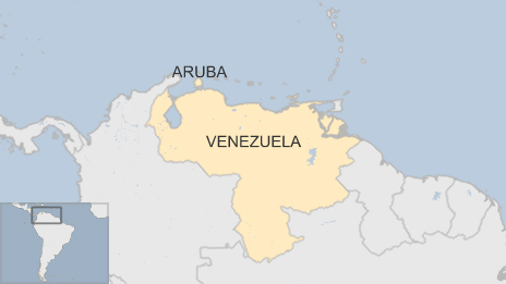 Map of Aruba and Venezuela