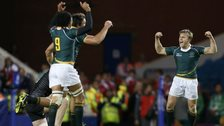 South Africa celebrate winning gold in the rugby sevens at the Commonwealth Games