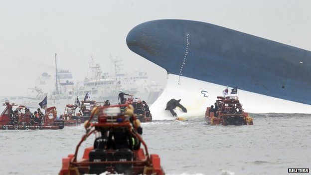 Part of the Sewol is seen as South Korean maritime policemen search for passengers in the sea off Jindo on 16 April 2014