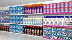 A shelf full of Reckitt Benckiser products