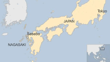 Map of Japan, showing Sasebo