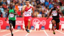 Titus Mukhala of Zambia, Adam Gemili of England and Jeremy Bascom of Guyana