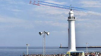The Red Arrows perform over the seafront at Seaburn