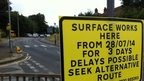 Road resurfacing sign