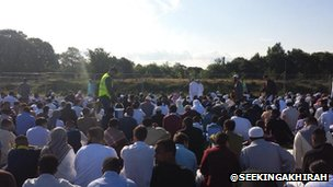 People gathering in Small Heath Park to celebrate Eid