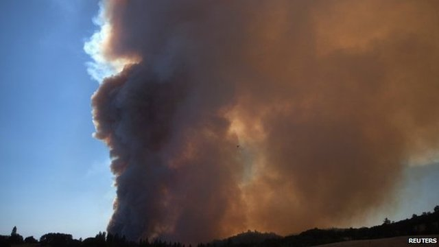 Fire burning near Plymouth, California (26 July 2014)