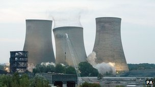 The three Didcot A power station towers as they were demolished,
